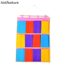 Creative 12 Pocket Candy-Colored Sundries Storage Bags Environmental Protection Tasteless Multifunctional Portable Hanging Bag(China)