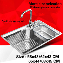 Free shipping Food grade 304 stainless steel standard kitchen sink single slot washing bowl hot sell 58x43/68x45 CM(China)