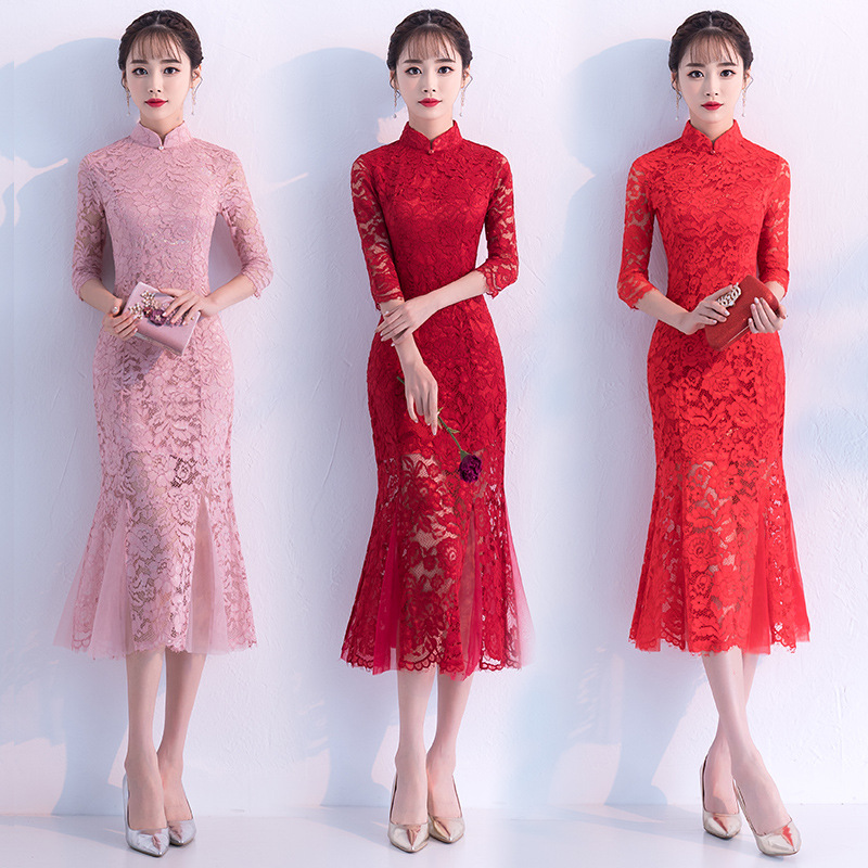 Chinese Women Red Lace Wedding Dress Elegant Vintage Slim Mermaid Qipao Classic Flower Mandarin Collar Cheongsam Vestidos 3XL