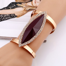 New Fashion Maxi Metal Bangles Women Trendy Resin Crystal Bracelet Plated Smooth Wide Opening Adjustable Bangle