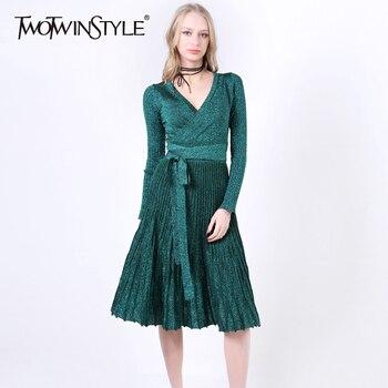 [Twotwinstyle] primavera plisada dobladillo grande de cuello v cintura alta lace up dress mujeres shiner punto elástico ropa nueva cosecha