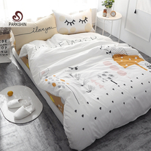 ParkShin Tree Printed Bedding Set Kids Forest Bedspread Duvet Cover Set Soft Cute 100% Cotton Bed Set With Flat Sheet 4Pcs