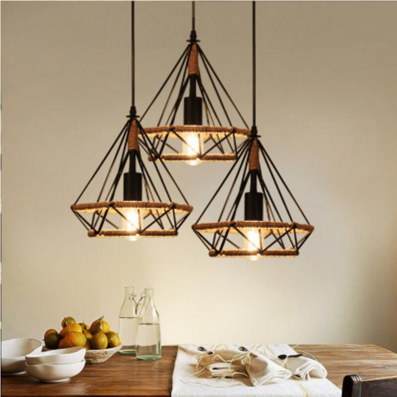 Industrial Retro Pendant Lights For Restaurant/bar/Cafe/shop Hanging Light Woven hemp rope Diamond cages Pendant lamp<br>