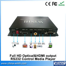 Welcomed easy operation USB SD card supermarket use Optic 5.1 HDMI out RS232 auto loop play 1080p video player