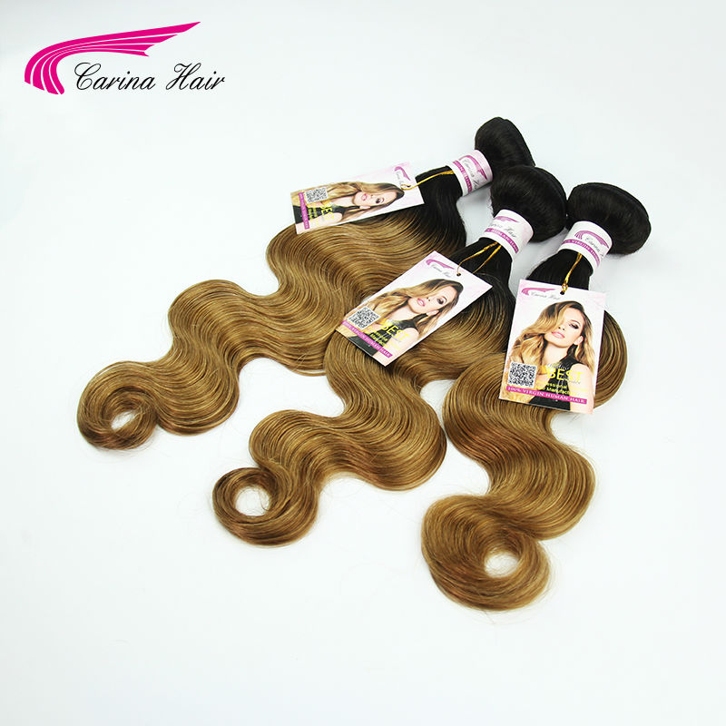 Peruvian honey blonde ombre human hair 3pcs/lot T1b/27 dark roots body wave carina new arrival hair extensions free shipping<br><br>Aliexpress