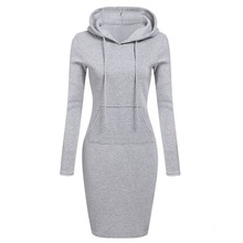 LITTHING Spring Warm Sweater Long-sleeved Dress 2019 Woman Clothing Hooded Collar Pocket Design Simple Woman Dress Z30(China)