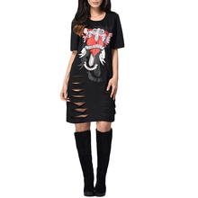 Vintage Black Cut Out Dress Skull Eagle Rose Love Heart Printed Short Sleeve Loose Straight Mini Dress Summer Punk Rock Style(China)