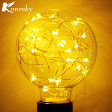 Vintage 0.8W Filament Copper Wire G80 LED Light Bulb E27 Base Ball Shape Decorative for Holiday Wedding Christmas Warm White(China)