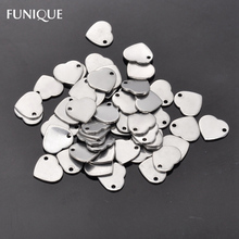 FUNIQUE 2017 New Necklace Pendant 50PCs Silver Color Stainless Steel Heart Charms For Making Women Men Jewelry 11mmx10mm