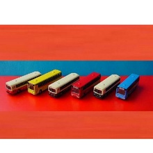 6 Pcs/Pack Mini Ultra-Small Bus Model Car Sand Table Model Bus Hot Selling(China)
