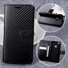 For Huawei P10 Lite Leather Cases Carbon Fiber Texture Leather Wallet Stand Phone Cover Case for Huawei P 10 Lite Shells - Black