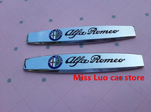 2PCS Free shipping Alfa Romeo Car Fender side Emblem Badge Decal rear bumper trunk Sticker Car style For Mito Gt 147 159 146 166