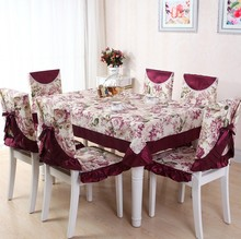 13pcs/Set Tablecloth Chair Cover Cushion Table Cloth Mat Printed Polyester Rustic Vintage Jacquard Floral Damask Lace Rectangle(China)