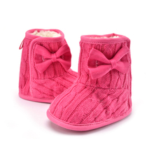 2017 New Baby Girl Knit Bowknot Faux Fleece Snow Boot Soft Sole Kids Wool Baby Shoes First Walkers Size 11/12/13cm Infant boots(China)