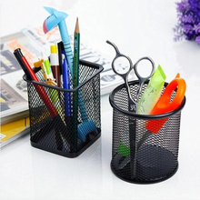 Best Sale Black Round Steel Mesh Style Pen Pencil Cup Desk Organizer Holder for Home Office ( Round Mesh Pen Holder)(China)