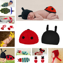 Retail Ladybug Designs Crochet Baby Hats Photo Props Infant Costume Outfits New Born Crochet Beanies Clothes 1set MZS-14001