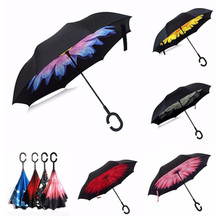 New Styles C-Handle cloud umbrella desigual vented sunprotection Double Layer Reverse Umbrella Blue Sunny Sky Umbrella
