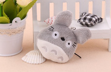 40pcs/lot Kawaii Mini 4*3cm Totoro Plush stuffed toy , Kid's little plush toy doll ; mini string key chain Toy doll