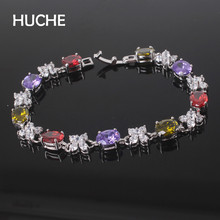 HUCHE Charm Bracelets For Women With Colorful Cubic Zircon Vintage Jewelry Buy It For Yourself To Increase Confidence HYJL114(China)