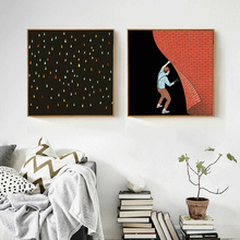 HAOCHU Modern Korean Black Base Colorful Raindrops Painter Red Brick Wall Canvas Painting Poster Home Decor For Coffee Bar Porch(China)