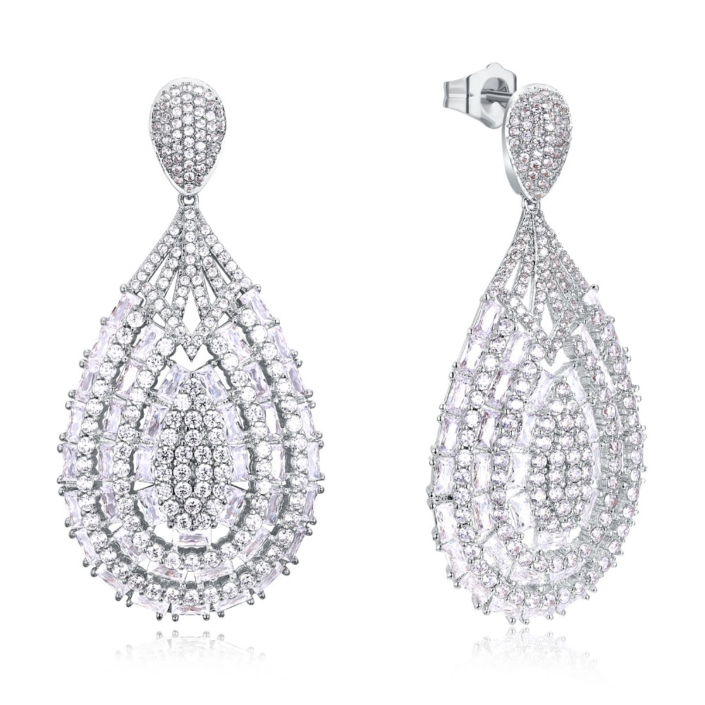 Newest big women Earrings luxury drop Earring rhodium plated setting white cz wedding party Fashion jewelry Free drop shipping