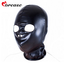 Buy Morease Leather Hood Mask Sexy Bondage Fetish Mouth Mask erotic Sex Toy Woman Couple Restraint Adult Game juguetes