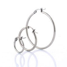 Simple 316L Stainless Steel Round Earrings Fashion Women Charm Ear Ring Jewelry 3 Size For Lady Gift Boucles doreilles(China)
