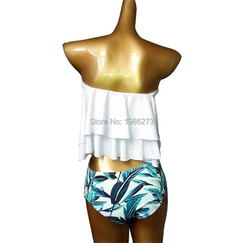 Bikini set 17 Doubledeck flouncing Swimsuit Push Up Bathing Suit sexy Women High Waist Swimwear Off Shoulder Swimming Suits 8