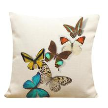 personalized Butterfly Painting Linen beautiful New Product Decorative Pillowcase cojines decorativos de lujo(China)