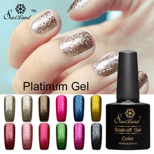 Saviland 1pcs 10ml 3D Platinum Diamond Glitter Soak Off Semi Permanent LED UV Gel Nail Polish Shining Colorful Gel Varnish