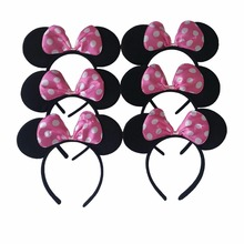 6 pcs Hair Accessories Minnie/Mickey Black Ears and Pink Bow Headband Boy Girl Headwear for Birthday Party & Celebration(China)