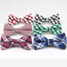 New Style Plaid Kids Bowtie Cotton Children Bowties Baby Kid Classical Pet Dog Cat Striped Butterfly Child Bow tie(China)