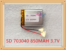 Liter energy battery  3.7V lithium polymer battery 073040 703040 850MAH GPS navigator MP3 sound recorder