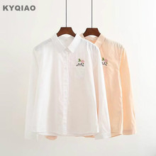 KYQIAO White Orange shirt 2017 women autumn winter Japanese style fresh long sleeve cat embroidery blouse blusa(China)