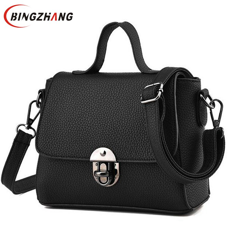 Brand Shoulder Bags Small Crossbody Bag for Women Casual Soft Cover Messenger Bags Solid Black Leather Handbags Flap L4-2837<br><br>Aliexpress