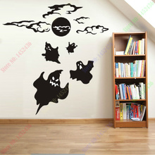 Free Shipping New Halloween 3D visual effects,wall stickers ghost haunted house horror style theme bar ktv decor 110x115cm(China)