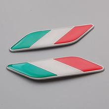2X Car Auto 3D Aluminum+Epoxy Italy Italian Flag Fender Emblem Badge Decal Sticker Fit For Fiat Panda Punto 500 VW Golf Polo ect