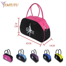 Black With Hot Pink Lady Girls Dance Bags Canvas Big Tote Adult Yoga Ballet Bag for Women Dance Costume Ballet HandBag(China)