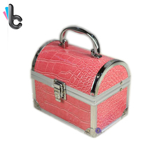 Portable Jewelry Box PU Leather Aluminum Box with A Mirror Jewelry Organizer Travel Cosmetic Case