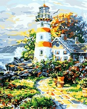 New Arrival Scenery pictures diy oil painting by numbers paint acrylic paints cheap lighthouse paintings Coloring by numbers