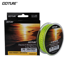 Goture 100M/109Yrd Fly Fishing Backing Line 8 Strands 20LB/30LB Dacron Braided Line Orange/Yellow/White/Double Color Low Stretch(China)