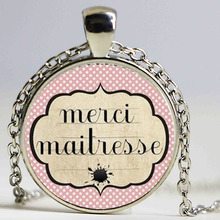 Merci Maitresse glass cabochon car necklace pendant holder classic school jewelry for women men HZ1(China)