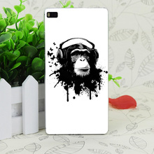 C3573 Earphone Monkey Transparent Hard Thin Case Skin Cover For Huawei P 6 7 8 9 Lite Plus Honor 6 7 4C 4X G7