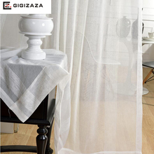 Mr John white jaquard voile curtains for livingroom GIGIZAZA rod pocket tulle drape transparent window sheer process finish size