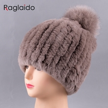 Raglaido Knitted Pompom Hats for Women Beanies Solid Elastic Rex Rabbit Fur Caps Winter Hat Skullies Fashion Accessories LQ11219(China)