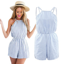 Women Striped Jumpsuit Romper Female Fashion Playsuit Sexy Bodysuit Body Suit Short Elegant Catsuit Overalls Rompers Clothing(China)