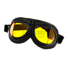 GT-005-YE BLACK Color GOGGLES Glasses With Yellow LENS WWII RAF VINTAGE PILOT For MOTORCYCLE BIKER CRUISER HELMET(China)