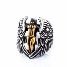 2017 punk jewelry man 316L stainless steel mens rings,angel & wings designer titanium silver religion men ring
