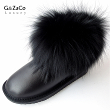 G&Zaco Luxury Natural Black Fox Fur Snow Boots Waterproof Boots Cowskin Ankle Boots Real Fur Flat Genuine Leather Women Shoes(China)