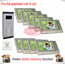 Nine / 9 Units Apartment Building Color Video Door Phone Intercom Visitor Photo Memory ( Also support SD card photo storage)